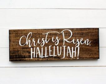 Christ Is Risen Hallelujah Rustic Wooden Wall Sign | Easter Sign | Rustic Wooden Sign | Religious Sign | Hallelujah Sign | Easter Decor