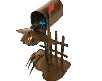 Vintage miniature copper mailbox figurine metal bird on nest sculpture