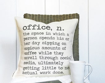 """18"""" Office Definition Pillow Cover - Funny Office Decor - Humorous Gift for Boss - Fun Office Lobby Decor - Cotton Canvas - Button Closure"""