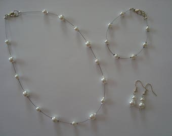 Wedding white glass beads set