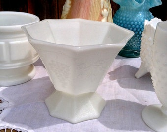 Octagon Milk Glass Bowl
