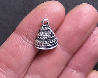 8 Cake Charms Antique  Silver Tone - SC089
