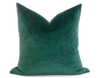 Emerald Green Velvet Pillow Cover - PLUSH Velvet -  Green Pillow - Dark Green Pillow - Velvet Pillow - Throw Pillow - Pillow Cover