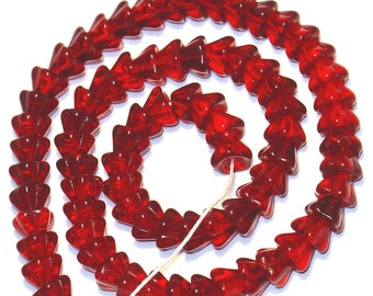 80 pcs  of bell flower glass beads 8.5X6.5mm - Clear Red
