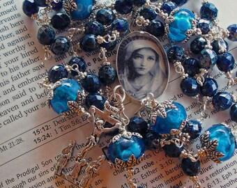 Katholischen Rosenkranz Sterlingsilber blau unzerbrechlich versandkostenfrei