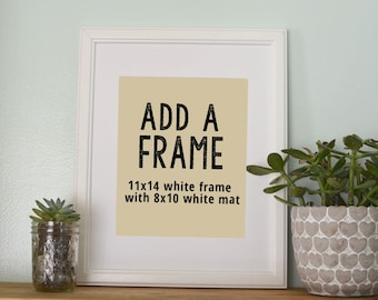Add a Frame- Add an 11x14 White Frame and White Mat to your 8x10 print