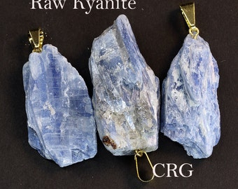 Rough Kyanite Pendant w/ Gold Plated Bail (RH10BT)