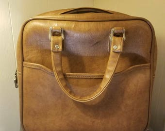 Brown carry on luggage from the 70s