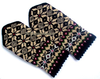 Beige Black Wool Mittens Hand Knitted Beige Black Gloves Hand Knitted Women's Gloves Winter Gloves Warm Mittens Patterned Latvian Mittens