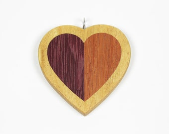 Wooden Heart Pendant, Wood Heart Pendant, Wooden Pendant, Mosaic Pendant, Heart Necklace, Love necklace, Valentine's Gift, Intarsia Pendant