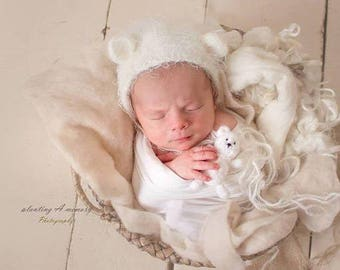 Ready to ship fits in newborn hand knit buddy bear, prop,gift, newborn