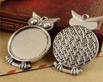 20 Owl Pendant trays- 25mm Round Bezel Setting Wholesale, Antique Bronzed Tone/ Antique Silver Tone, 116g - HA3850