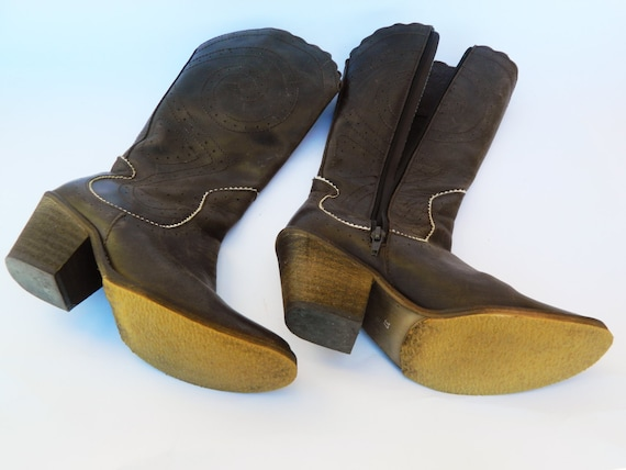 Retro Vintage Cowboy Western Her For Brown Leather Boots Women's Gift xYRwIPRnqS