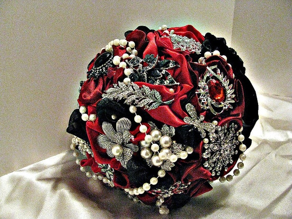 Redblack brooch wedding bouquet brooch bridal bouquet