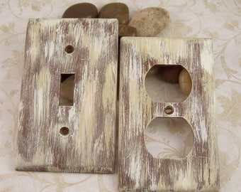 Primitive Switch Plate Covers Distressed Wood Light Switchplates, Living Room Bathroom Bedroom Farmhouse Decor, Home Decor Country Lighting