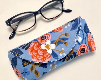 Eyeglass Case - Sunglass Case - Periwinkle Blue - floral - Magnetic - Gifts for Women - Easter Gifts - Valentines Day Gifts - Rifle Paper Co