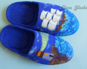 Felted slippers Blue slippers Felted wool slippers Men's slippers Eco friendly  shoes Mens House Shoes Lighthouse Sea Gift for him