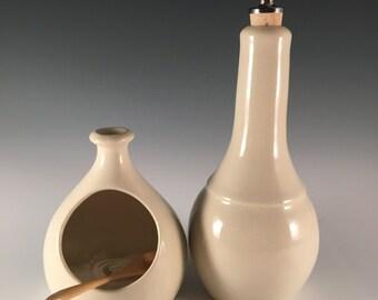 salt cellar with spoon, salt pot, white pottery, farm style, bamboo spoon
