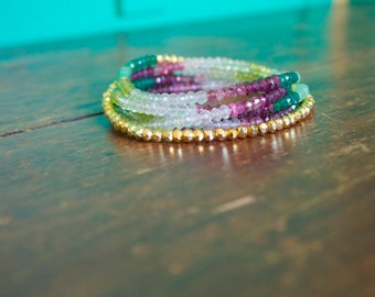 Heart Chakra Beaded Wrap Bracelet Genuine Gemstone Yoga Inspired Sparkly Faceted Delicate Ombre Multi Stone Spiritual Jewelry Pink Green
