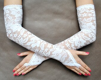Elegant Glamour extra long GLOVES for special ocassions, bridal, WEDDING, prom, snow white