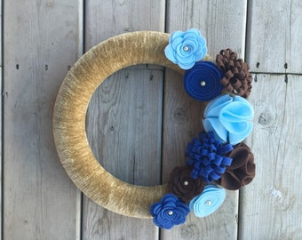 Blues, Brown and Beige Yarn and Felt Flower Wreath, Door Wreath 12 inches