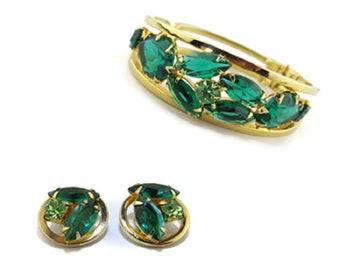 Stunning Juliana D&E Clamper Bracelet Earrings Rhinestone Green Demi Parure Vintage