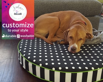 Large Round Dog Bed |  Foam or Fiberfill Insert | Select your Fabrics and Size - High Quality!