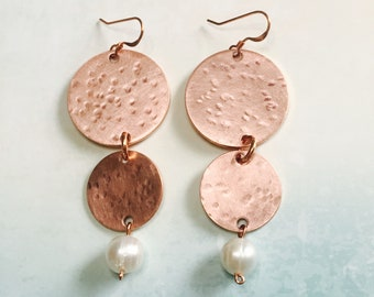 Three Worlds Copper and Pearl Earrings Tsalagi Cherokee Made
