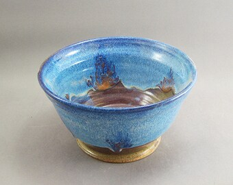 Pottery Medium Bowl Rutile Blue & Tenmoku FF04