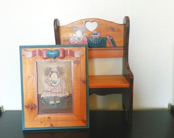 Vintage Dianna Marcum Wall Hangings - Wood Country Bench Shelf - Wood Framed Canvas Picture