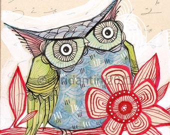 blue owl - watercolor painting - 8 x 8 inch print - archival, limited edition - by cori dantini