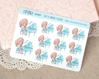 Kawaii Girl Decorative Stickers: Piano class ~Vera~ For your Life Planner, Diary, Journal, Scrapbook...