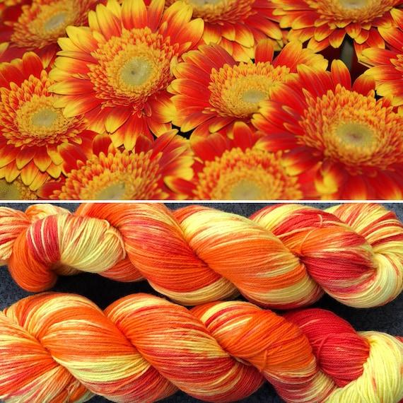 Gerbera Daisy, bright soft merino nylon indie dyed sock yarn