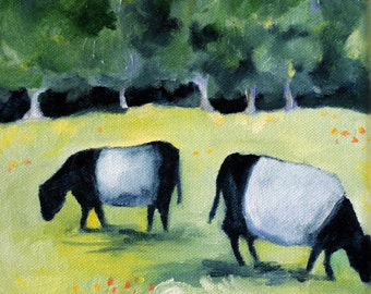 Cows art print of original oil painting 8 1/2 x 11 cute cows Giclee PRINT