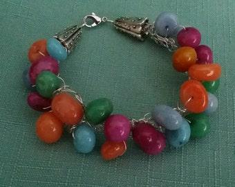 Bright color stone wire crochet bracelet.