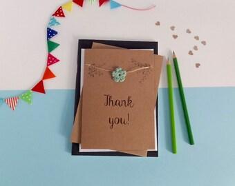 Thank you card - Card for teacher - Thanks card - Crochet flowers card - Brown card