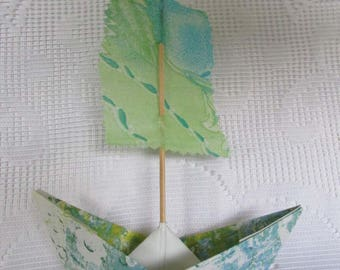 paper boat sailboat from hand printed paper and fabric gelli print paper