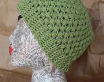 Unique Celery Green Puff Stitch Knit Crochet Women's Hat