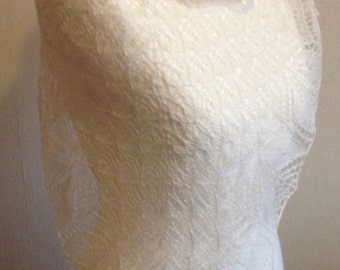 Ivory Silk Lace Wedding shawl, Haruni Hand Knitted Silk Lace Shawl / Wrap in Cream / Ivory Made to Order