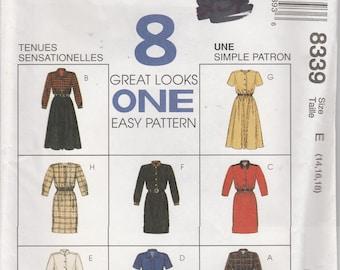 Easy Dress Pattern 8 Great Looks Misses Size 14 - 16 - 18 uncut McCalls 8339