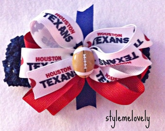 Houston Texans Baby Girl Boutique Bow Crocheted Headband