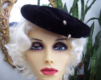Vintage 1960s Black Velvet Tam, Beret, Hat, Rhinestone Buttons