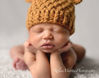 Bear Beanie - Newborn through 12 months - Crochet - Beanie ONLY