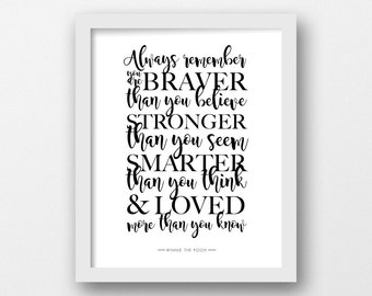 CHARITY, Always remember, PRINTABLE, Winnie the Pooh, Quote print, Disney quote, Minimalist, Modern wall art, Proceeds to Cystic Fibrosis