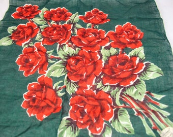 Vintage Burmel Green Hanky with Red Roses - New with Original Paper Tag