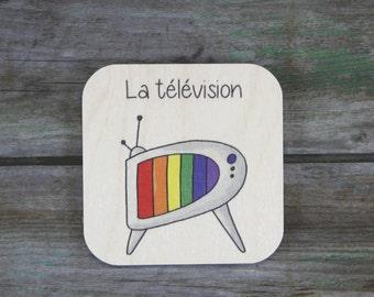 """Pictogramme """"La télévision"""", en bois - Routine quotidienne - 3 à 5 ans"""