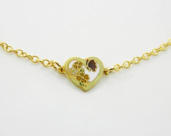 Tiny Butterfly Heart Charm Necklace in Lime