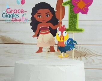 3pc Glitter Polynesian Princess Cake Topper
