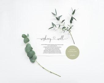 Simple Wedding Wishing Well Card Template,Instant Download, Editable Wishing, Wishing well Cards Insert, Calligraphy,Rustic,Heart  - Heather