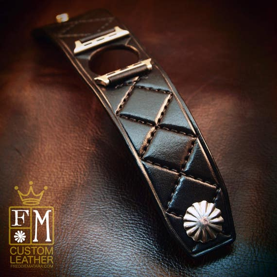 Apple watch Leather Cuff Watchband black Harlequin diamonds quilted Bracelet made for YOU in USA by Freddie Matara